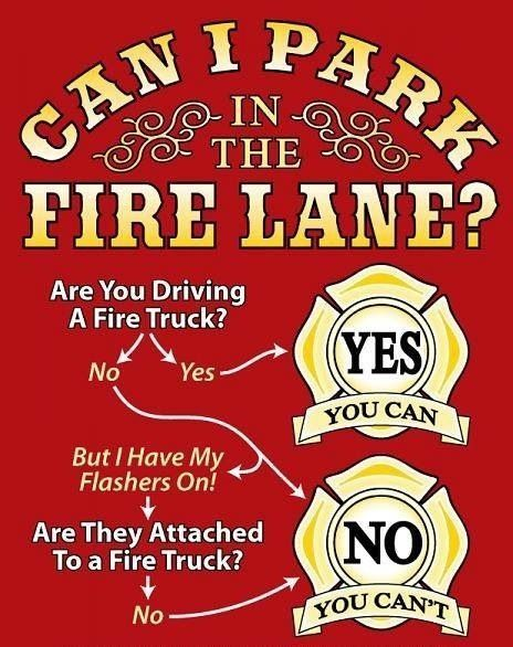 Can I park in the fire lane? firefighter quotes Fire