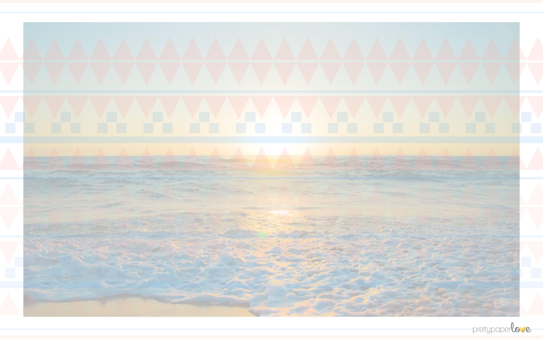 dreamy pastel ocean sea sunset with aztec pattern desktop
