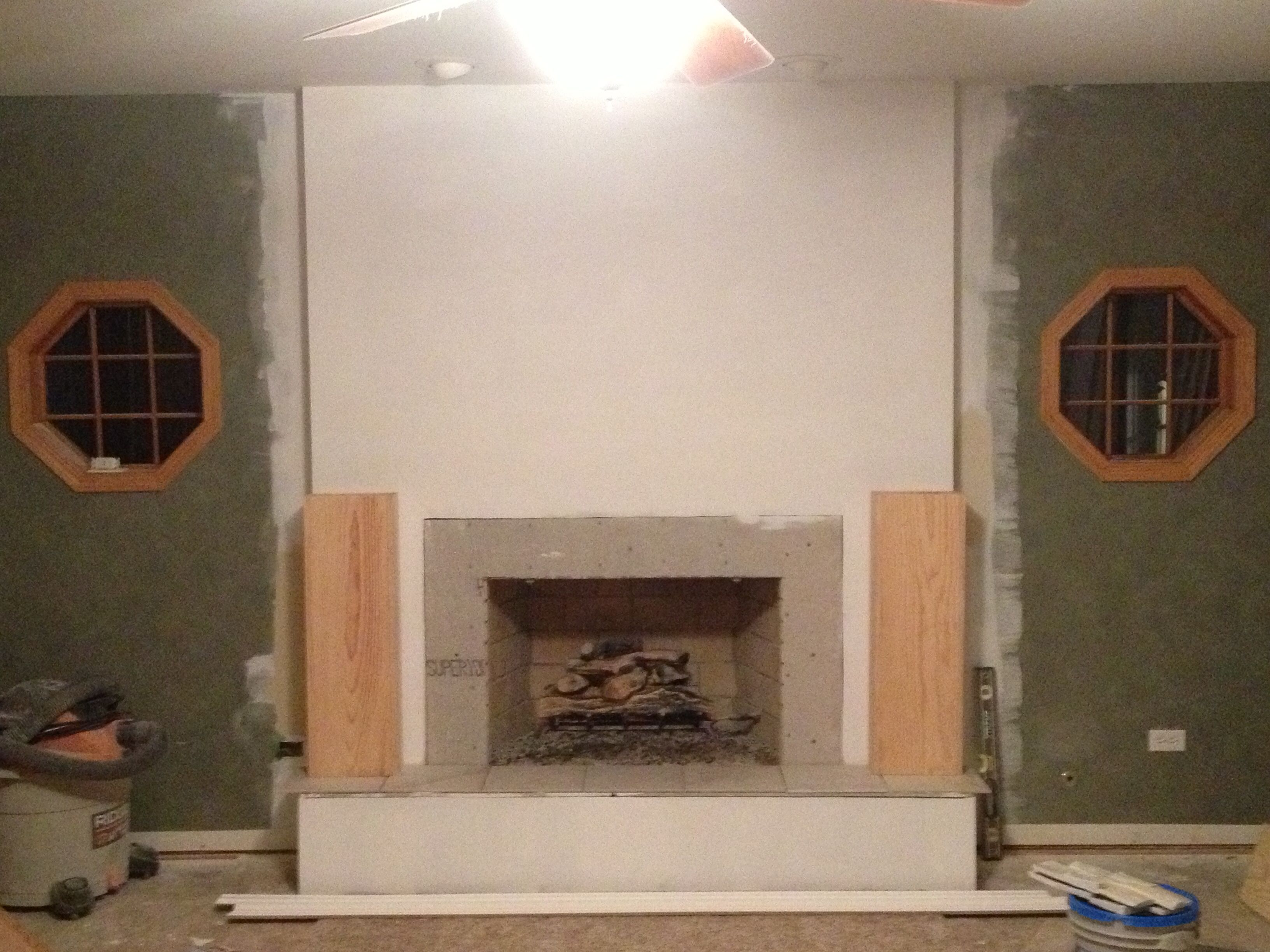 Step 3: We Covered The Raised Hearth With Tile (fireproof Material) Or You