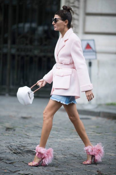Giovanna Battaglia seen in the streets of Paris during the Paris Fashion Week Womenswear Spring/Summer 2018 on October 2 2017 in Paris France