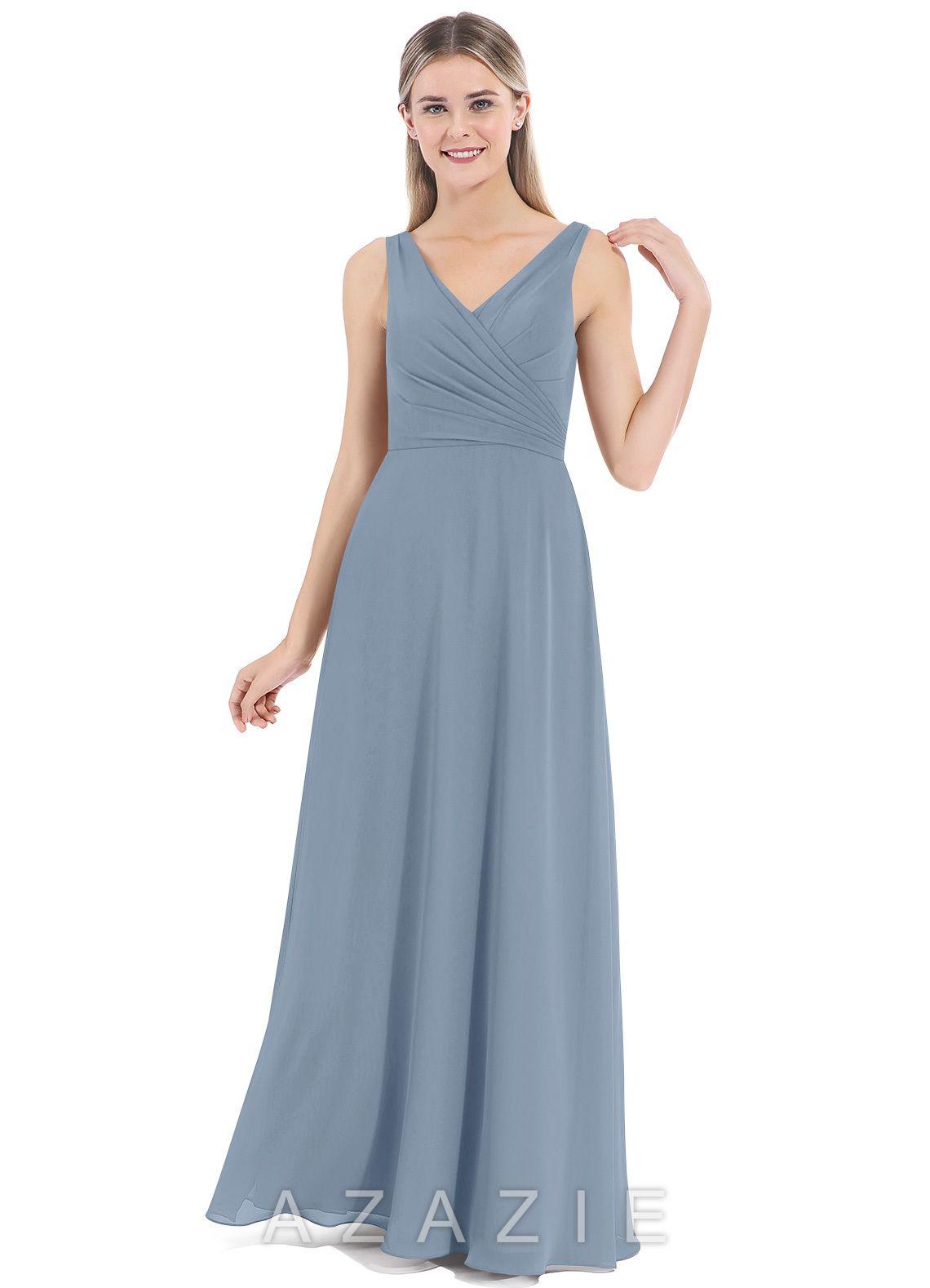 82990847f37 Azazie Nala Bridesmaid Dress - Dusty Blue
