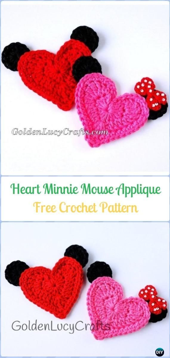 Crochet Heart Minnie/Mickey Mouse Applique Free Pattern - Crochet ...