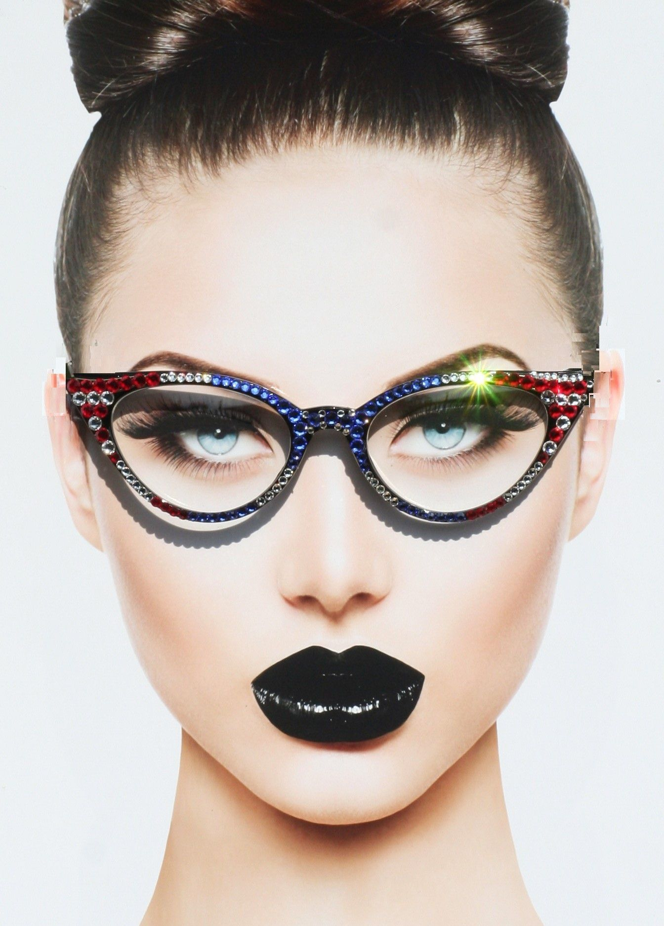 Patriotic Cat Style Eyewear, Clear Lens Glasses, American