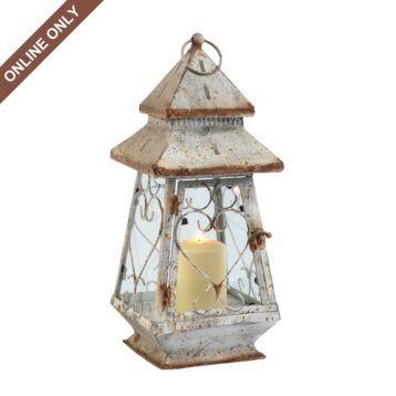 Rustic White Metal Lantern | Kirklands | Metal lanterns ... on Lanterns At Kirklands id=23550