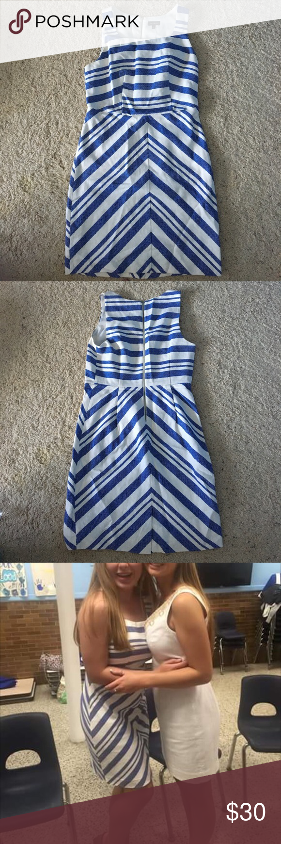Blue and white elegant dress