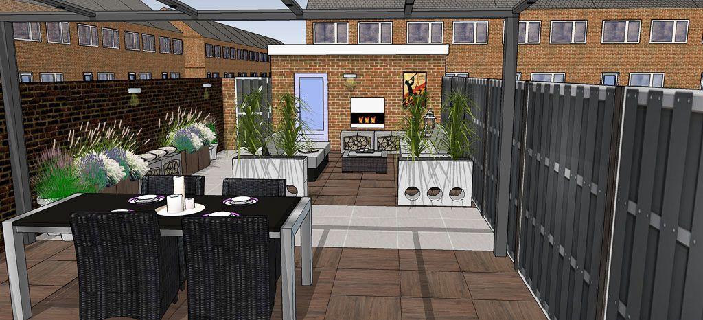 Tuinontwerp moderne strakke kleine achtertuin met grote tegels in twee contrasterende kleuren - Sofa kleine ruimte ...