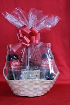 A birthday basket I made for a friend. It has all the makings for his favorite drink including a couple of new glasses to drink it in.