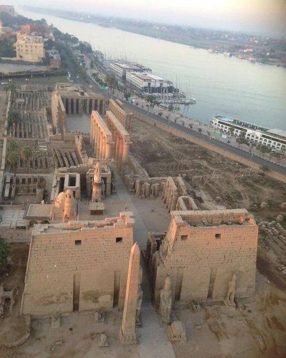 Aerial View Of Luxor Temple Complex. East Bank Of The Nile