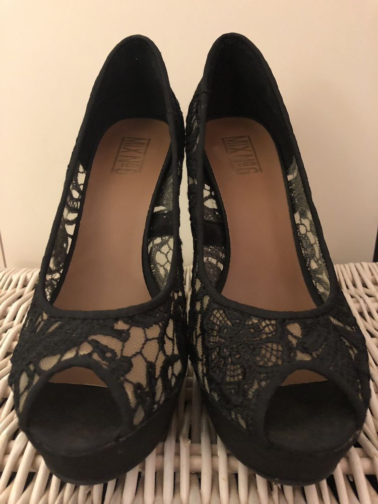 b2142431a646 Mix No. 6 Black Lace Platform Peep Toe Pumps - Size 8  fashion ...