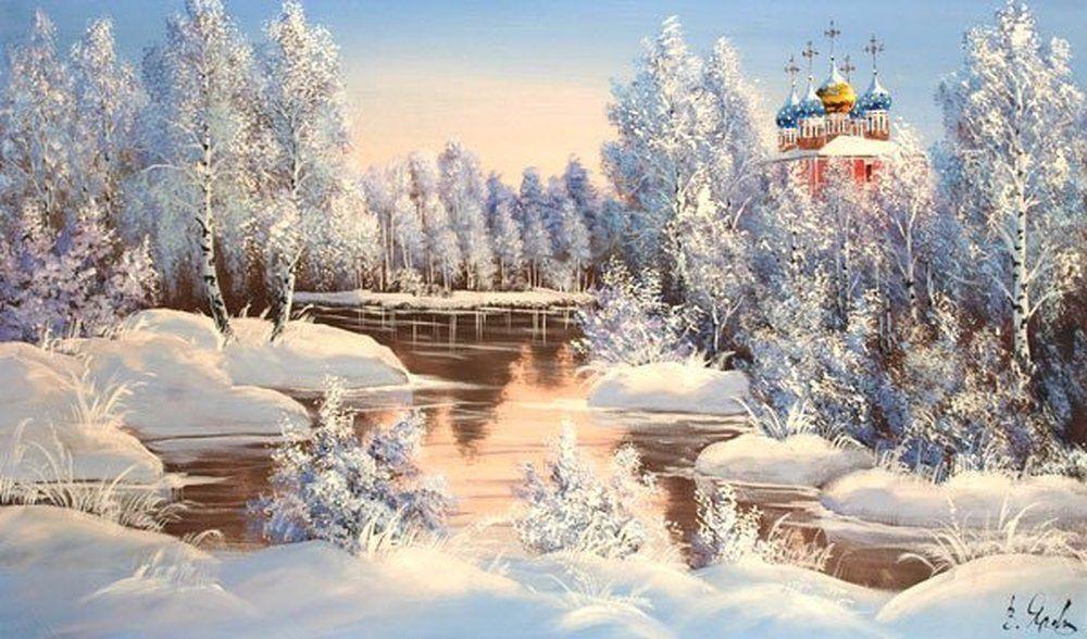 """Купить картину маслом на холсте """"Рязанский Кремль в зимнем лесу"""" Размер: 90  × 50 см без учета багета Холст картины закреплен на подрамник"""