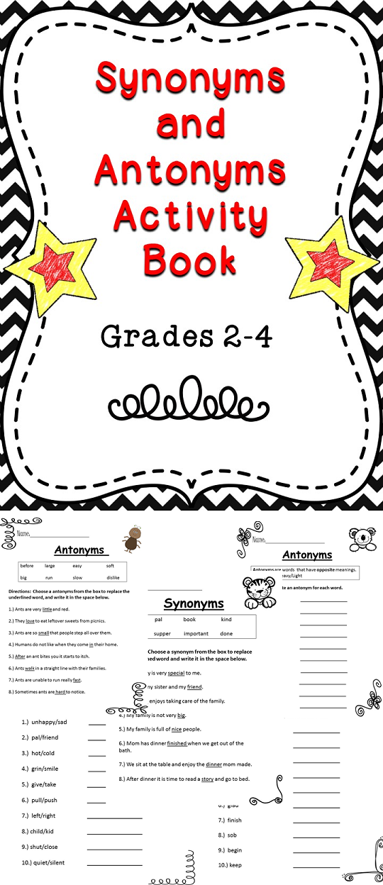 A Fun Filled Synonym And Antonym Activity Book For Elementary Students Tpt Synonyms Antonyms Synonyms And Antonyms Antonyms Activities Elementary Reading
