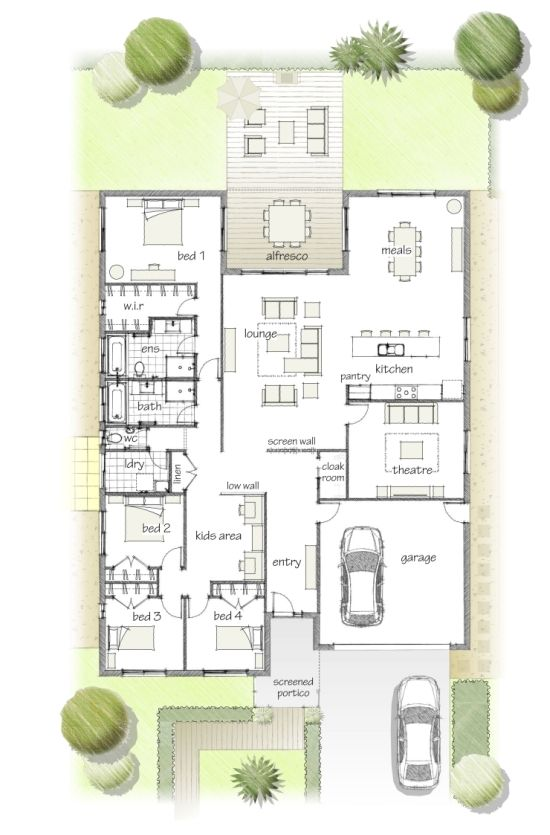 4 Bedroom 2 Living Nice Back Family Room Opening To Backyard House Layouts Home Design Plans House Design