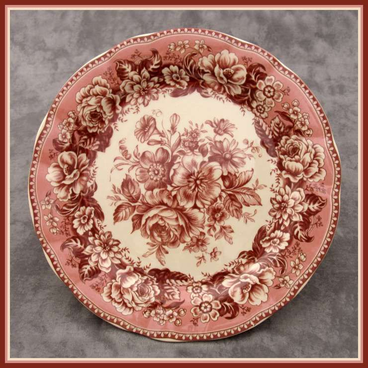 red transferware plate
