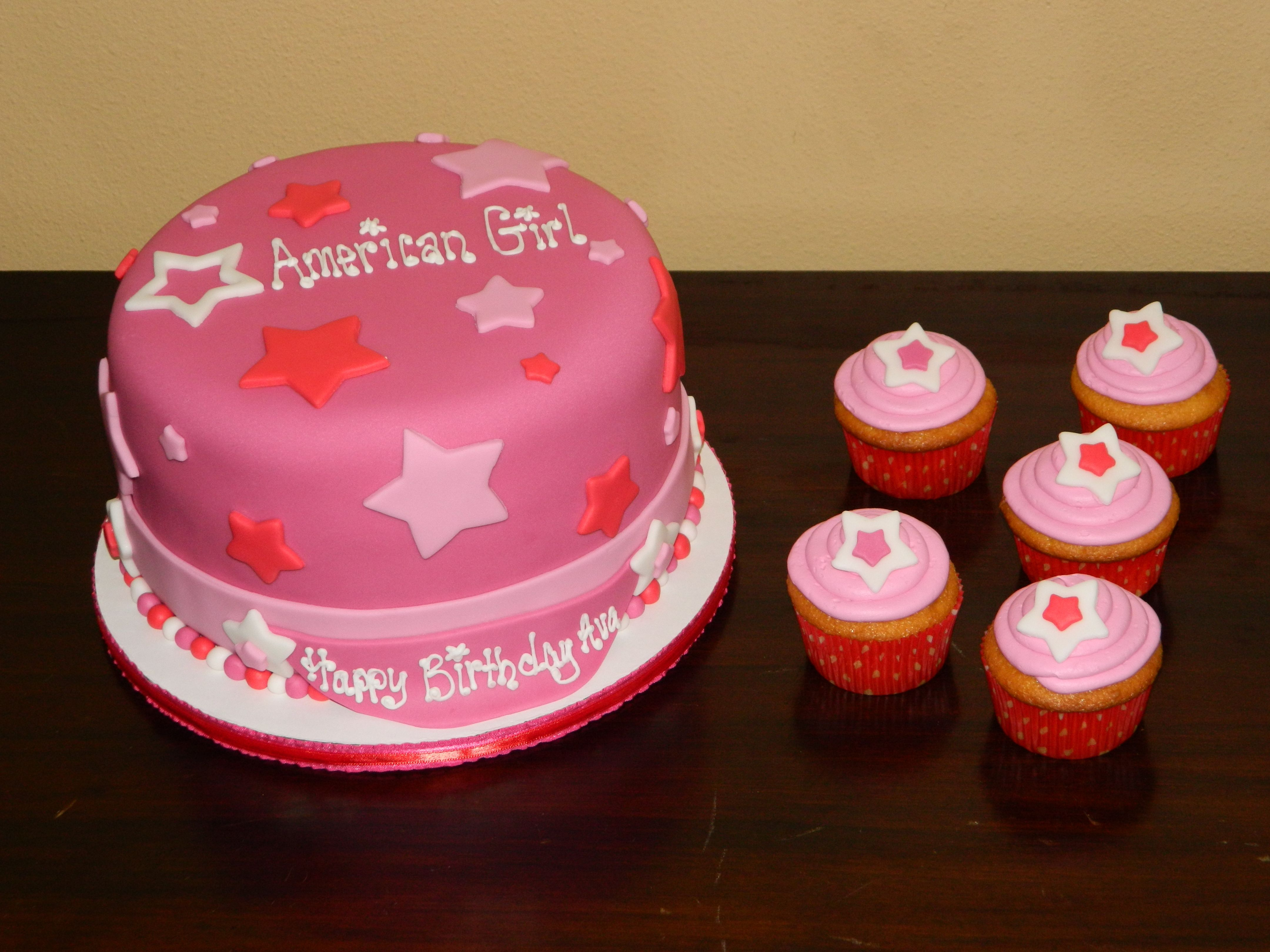 American Girl Themed Birthday Cake With Cupcakes With Images