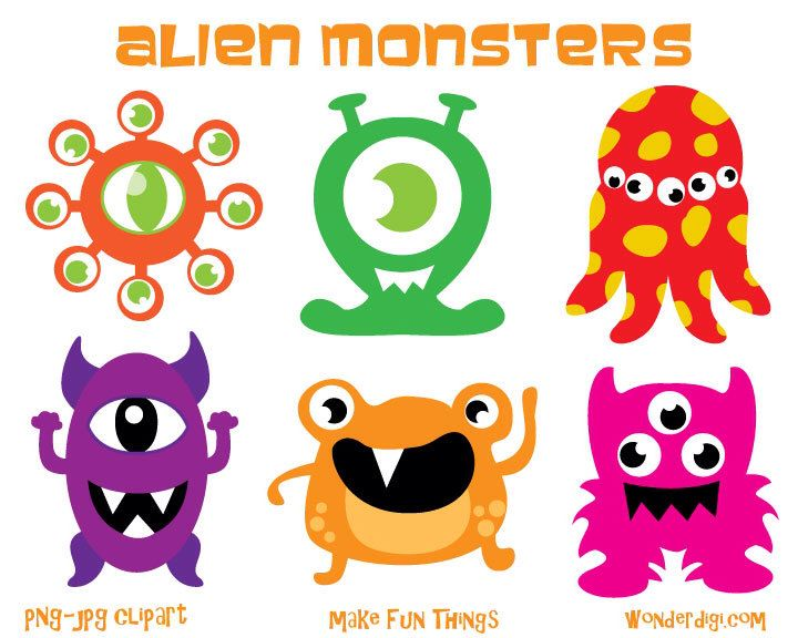 monsters clipart aliens clip art kids party clipart halloween rh pinterest co uk halloween clipart free printable