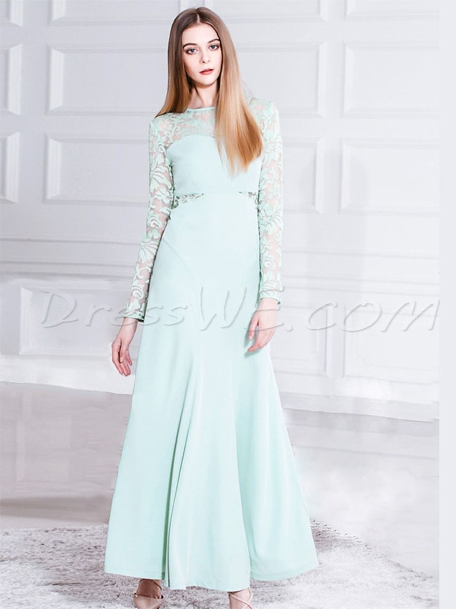 Pretty lace patchwork soild color long sleeve maxi dress daily