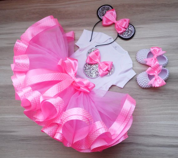 First birthday Minnie Mouse outfit silver and pink tutu silver headband Micke