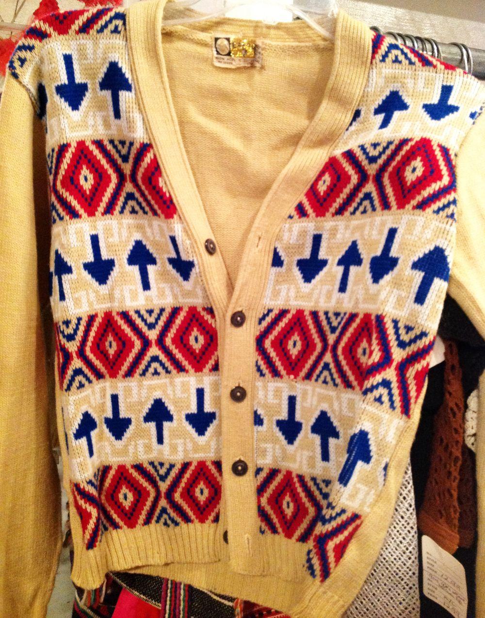 "1960s/70s ""arrows"" knit cardigan."