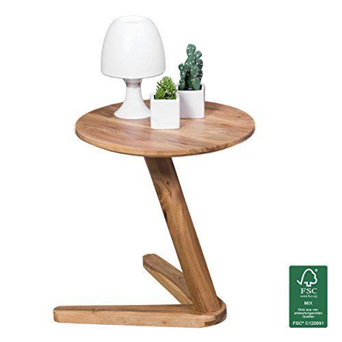 Tisch design rund  WOHNLING Beistelltisch Massiv-Holz Akazie Design Wohnzimmer-Tisch ...