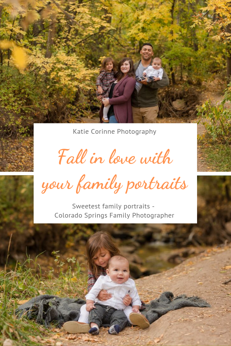 Fall Family Portraits - Colorado Springs #autumnfoliage Fall is here and it's  time to finally fall in love with your family portraits! It's the perfect time  and weather in Colorado Springs for cute kiddos dressed in back to school  clothes with the autumn foliage. Book your session with Family Portrait Photographer  - Katie Corinne Photography.     #fall #fallphotos #familyphotos #familyportraits #autumnfoliage