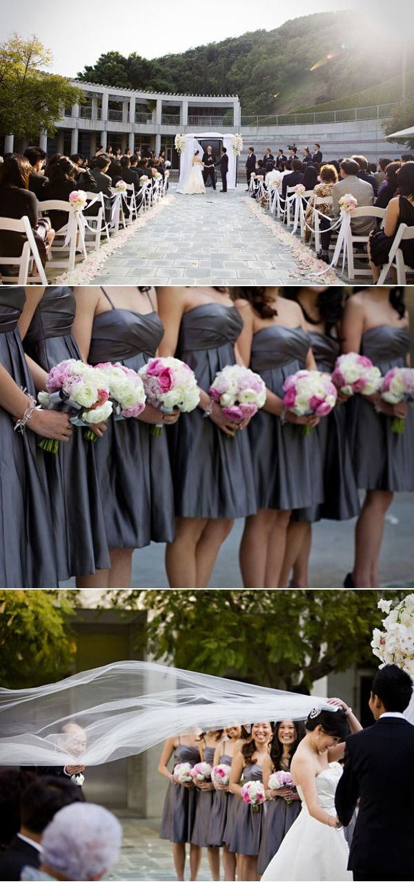 Skirball cultural center wedding by jasmine star photography grey bridesmaids dresses with fuchsia and white flowers mightylinksfo