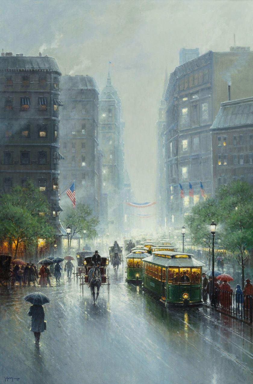 G Gerald Harvey Jones Harvey American B 1933 Showers On Broadway 1992 Oil On Canvas Mit Bildern Bilder Kunst Grafik Design