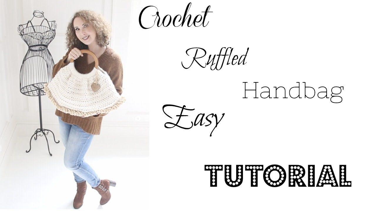 Super easy Ruffled Handbag Crochet tutorial - YouTube | Crochet ...