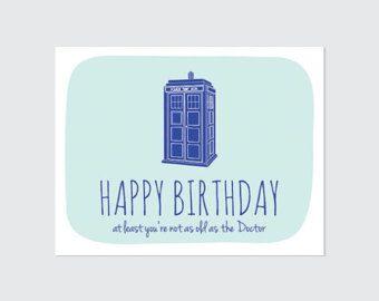 Printable Doctor Who Birthday Card Funny Birthday Card Geeky