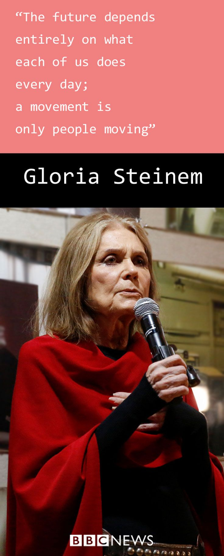 Gloria Steinem first rose to prominence in America as a writer and activist in the 1960s fighting for gender equality and women's rights. In 1972 she co-founded Ms Magazine. Today she works in the US and internationally with organisations such as Equality Now, but how much of what she fought for has been achieved?