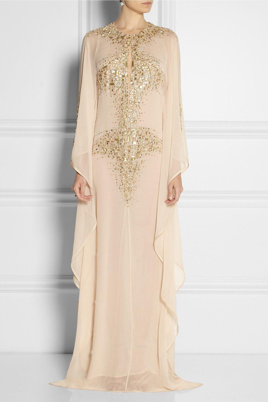 KAUFMANFRANCO Embellished silk-chiffon kaftan-style gown NET-A-PORTER.COM