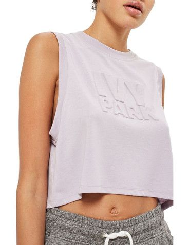Cropped Tank Top With Embossed Logo In Pink - Pink Ivy Park Clearance Fast Delivery 6m1L934k