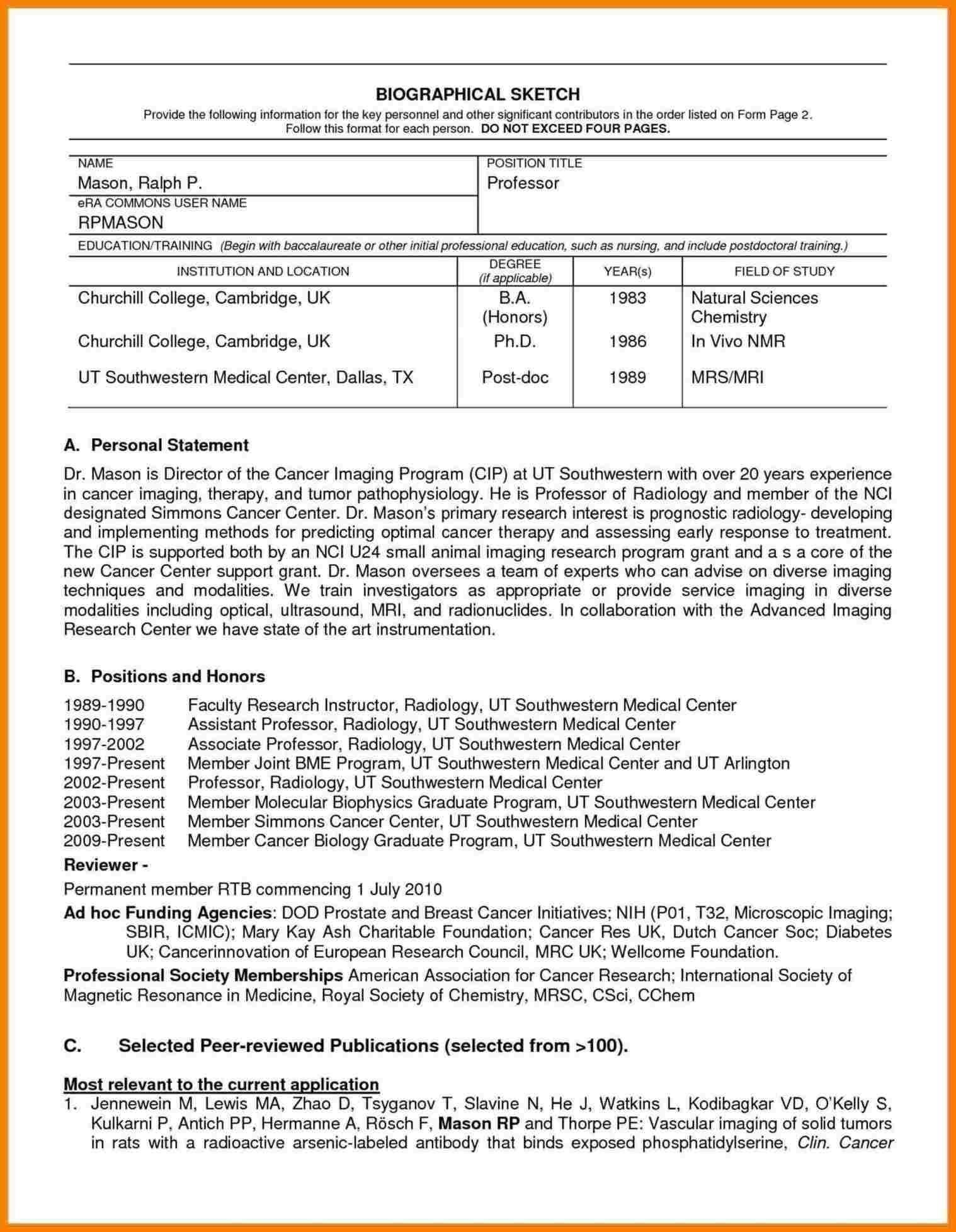 Nih Biosketch Template Doc Digitalhiten Inside Current Nih Throughout Nih Biosketch Template Word C Word Template Design Word Template Resume Template Word