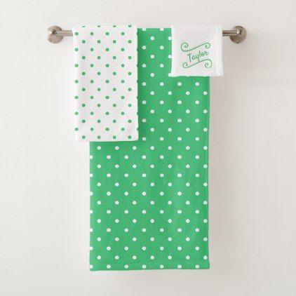 Green And White Polka Dot Bath Towel Set Zazzle Com Elegant