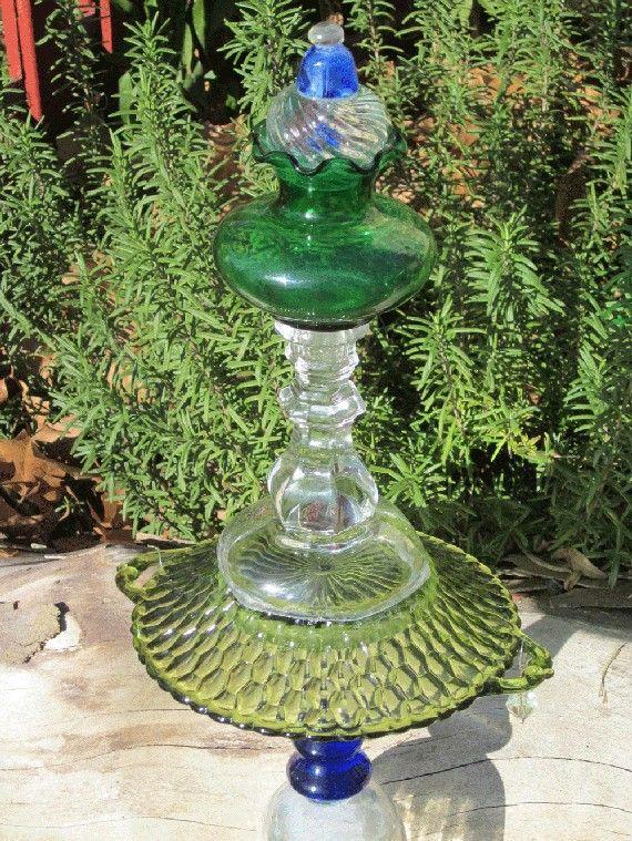 Glass Garden Yard Art Sculpture with Swarovski by TheGlassDiva