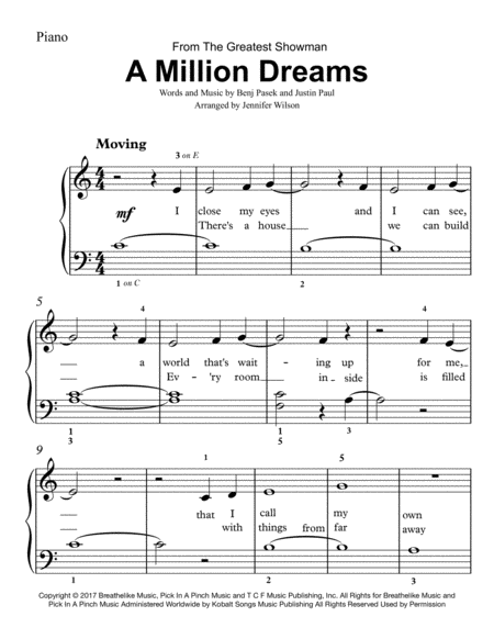 A Million Dreams Easy Piano By Digital Sheet Music For Piano Solo Easy Piano Download Print H0 39 Piano Sheet Music Free Digital Sheet Music Sheet Music