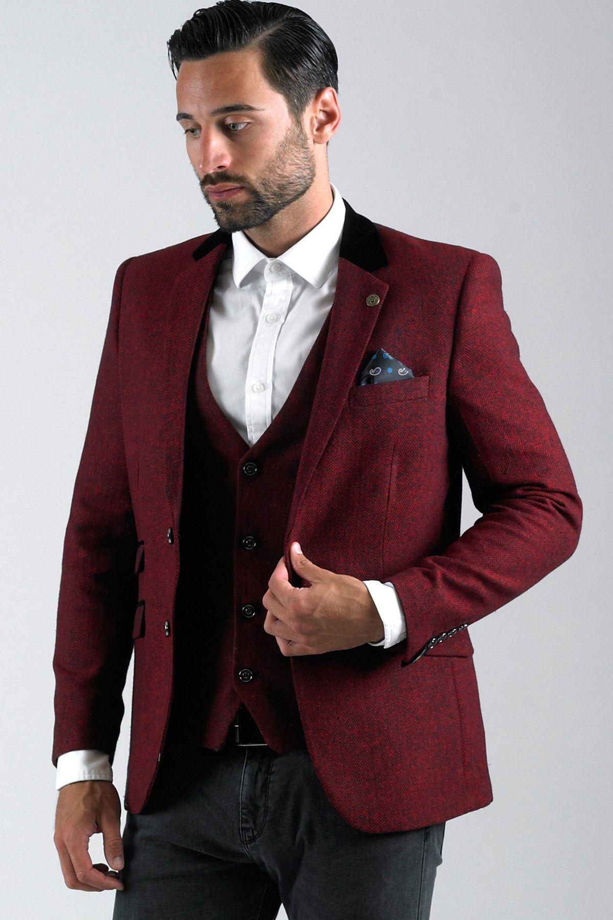 Mens Red Wine Contrast Trim Tweed Blazer | Stuff to buy ...