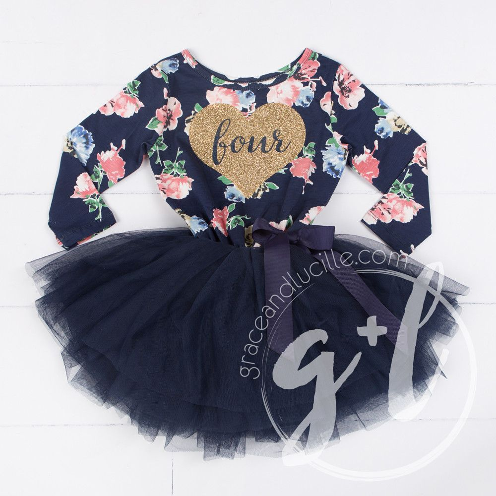 """Fourth Birthday Dress Gold Heart with """"FOUR"""" on Navy Floral Long Sleeves"""