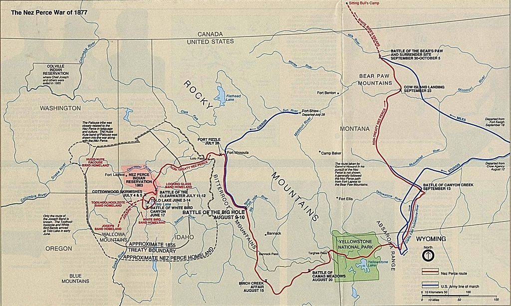 Battle map showing the flight of the Nez Perce and key battle