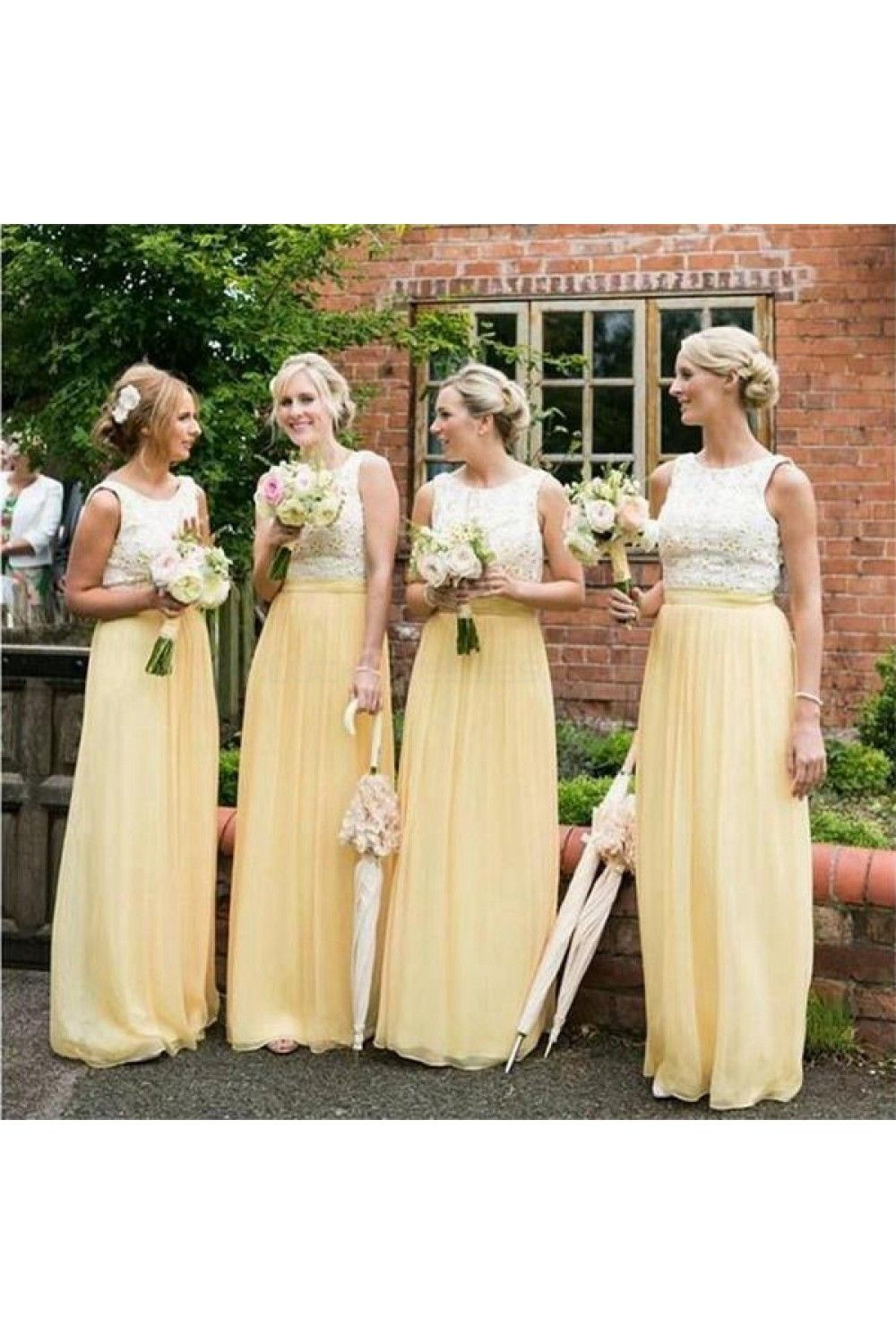 Long yellow white lace wedding guest dresses bridesmaid dresses
