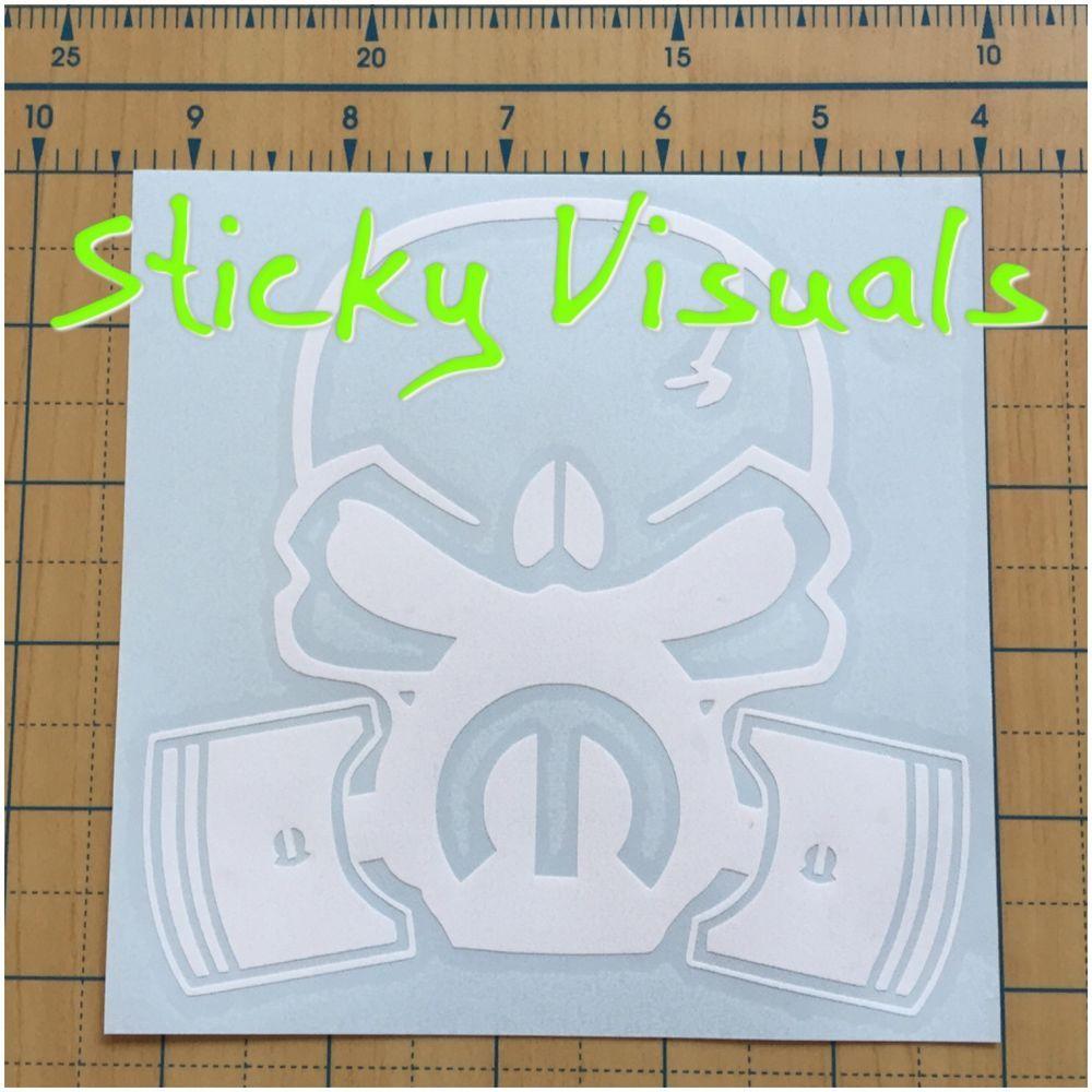 Mopar Skull Pistons Top Fuel Nitro Mask Car Logo Decal Sticker Gloss Vinyl Custom Vinyl Decal Mopar Decals Stickers