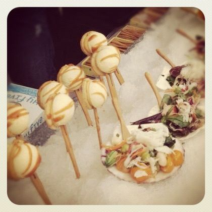 White cheesecake lollipop and crab salad