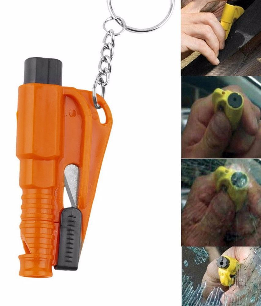 Mini 3in1 Window Breaker Seat Belt Cutter Safety Whistle