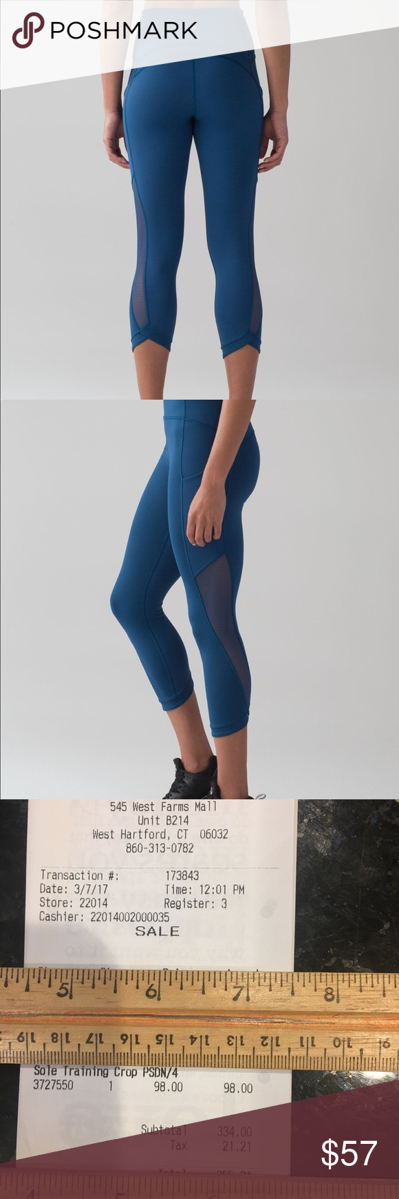 0c978f6fb9 Lululemon Sole Training Crop in Poseidon size 4 Worn once! Flawless  condition! Smoke free home. Firm lululemon athletica Pants Ankle & Cropped