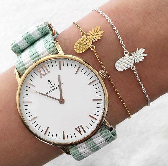 Armband mit Ananas in gold oder silber von LoveStatement auf Etsy