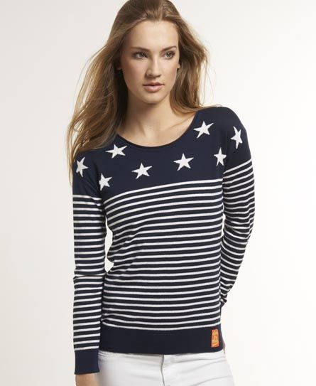 Shop Superdry Womens Breton Star Crew in Navy. Buy now with free delivery  from the Official Superdry Store.