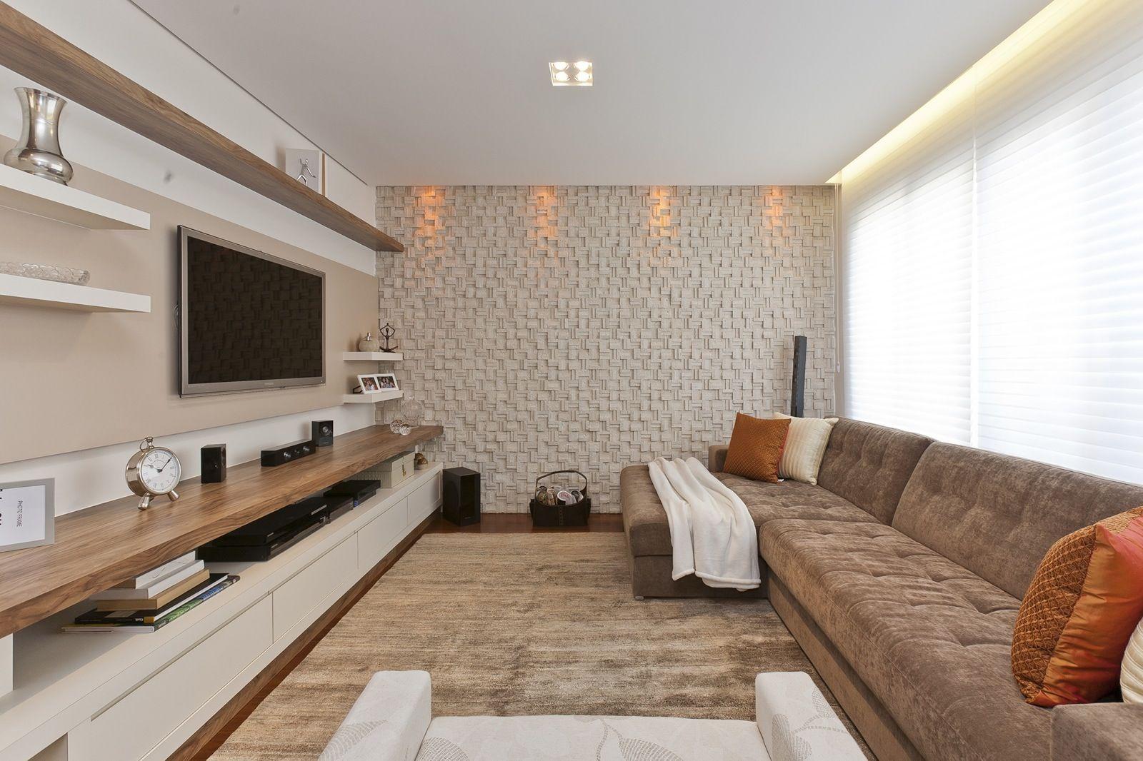 Home Theater 20 Projetos De Salas De Tv Modernas Painel Para  -> Acabamento De Parede Para Sala