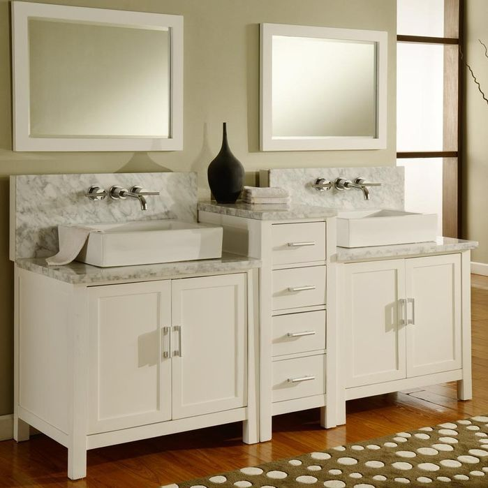 Horizon 84 Double Premium Bathroom Vanity Set With Mirror