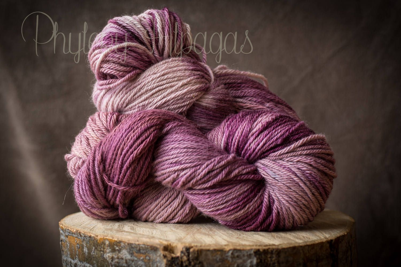 Fil De Peche Rose hand dyed alpaca yarn pink sand, sangria, peach. fil tricot