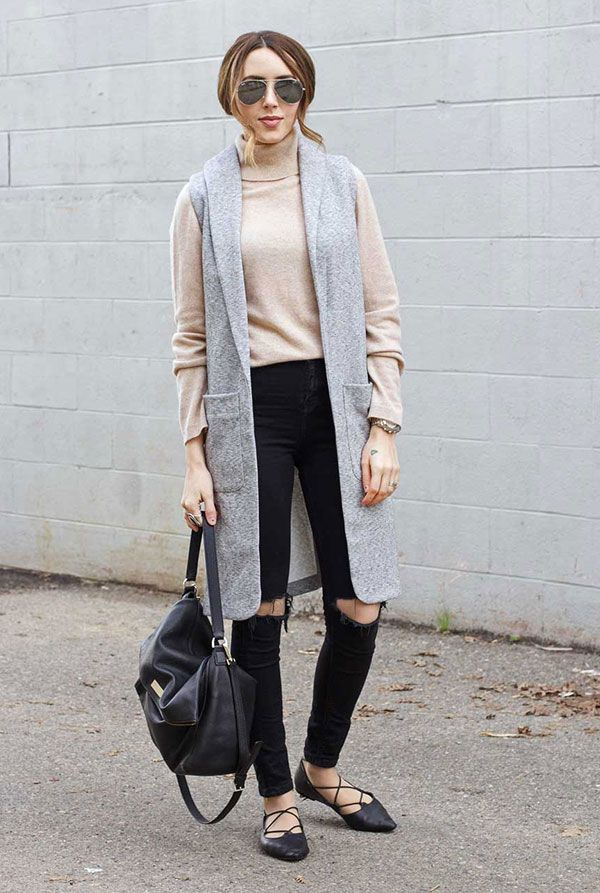 4ae14bae73 Street style look com colete longo cinza