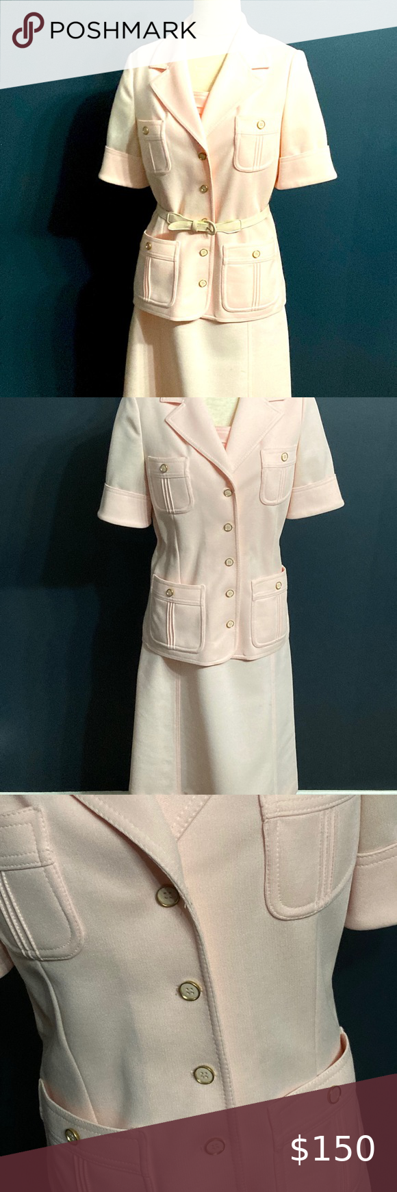 29+ Vintage 50's peachy pink dress suit Authentic 1950's polyester dress with matching blazer. Sweet pink sleeveless dress, modest knee length. Matching blazer with original buttons and belt. Size women's small; size women's 2 4; petite. Other